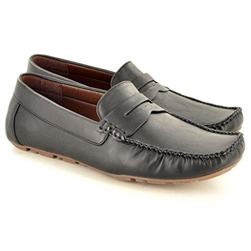 Men'Slipper, Leder s Casual Mokassins Slipper Driving Schuhe Schwarz