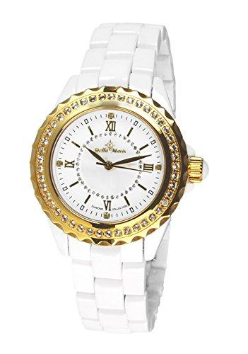 Stella Maris STM15E5 -Women's Watch - White Watch Dial - Analog Quartz - White Ceramic Bracelet - Diamonds - Swarovski Elements - Stylish - Classy