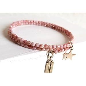 Armband gewickelt zierlich, filigran 3mm Glasperlen Rosa auf Memorywire mit Anhänger Stern