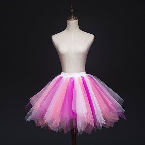 Feoya Donna Retro Annata di 50 Anno Tutu Gonna Bubble Gonna Balletto di Danza Principessa Sottogonna Mini Tutu per il Partito di Prom Tulle multicolore 8