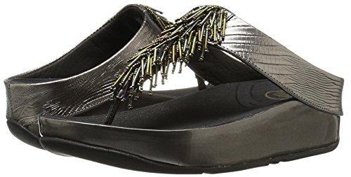 FitFlop Damen Cha Offene Sandalen mit Keilabsatz Silber (Nimbus Silver)