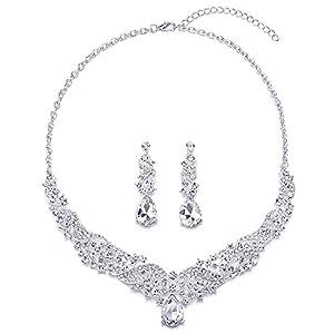 COOLSTEELANDBEYOND Hochzeit Braut Abschlussball Strass Kristall Cluster Filigran Träne Y-Form Statement Anhänger Halskette Ohrringe Set