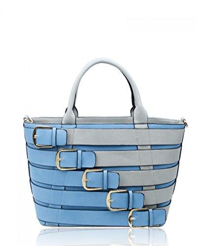 LeahWard® Groß Damen Belt Stil Berühmtheit Tote Handtaschen Kunstleder Schultertaschen CW160477 Ash Grau/blau