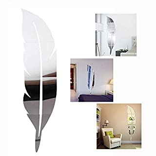 Cisixin DIY Stickers 3D Feather Plume Miroir, salon miroir mural d'autocollants Amovible Décor Décoration, 120 x 30 cm