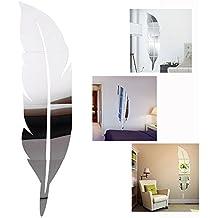 DIY 3D Acrílico Espejo Feather Decorativo Pegatinas de Pared de la Pluma Espejo Mirror Wall Stickers pared Adhesivo Forma Pluma(Plata)-Gearmax