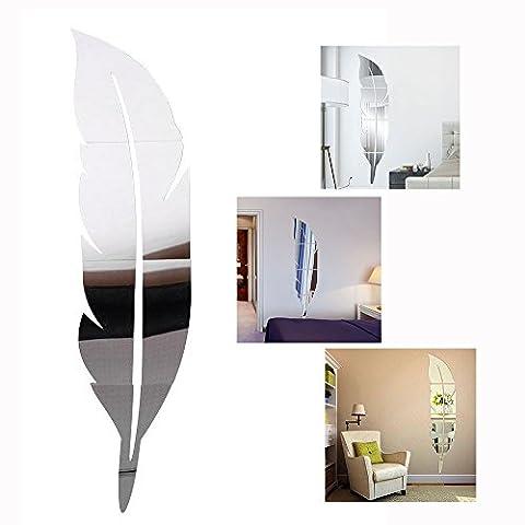 Cisixin DIY Stickers 3D Feather Plume Miroir, salon miroir mural d