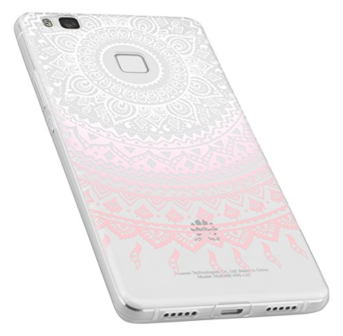 mumbi UltraSlim Hülle für Huawei P9 Lite Schutzhülle im Mandala Design transparent rosa (Ultra Slim - 0.55 mm)