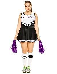 maboobie Tenue Complete Debardeur Jupe a Volant Pom-Pom Girls Cheerleader Noir a Rayures Blanches av/ 2 Pompons M (34-36)