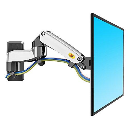 """NB North Bayou F150 17""""-27"""" Monitor Wandhalterung mit Einstellen Gasfeder TV Wandhalterung Fernseher Halterung Schwenkbar Neigbar Universal Wandhalter 4K OLED QLED 2-5kg VESA 75 100 / Silbrig"""