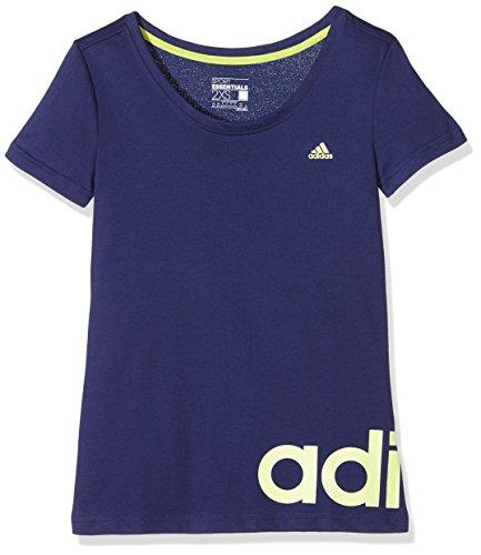 Adidas, Maglia a maniche corte da allenamento Donna Essentials Linear, Blu (Marine/Gelb), XXS