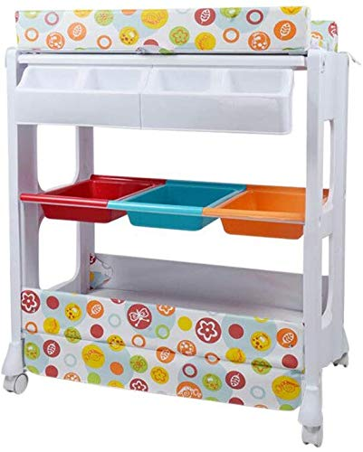 Barrier Bed Diaper Station with Wheels, Baby Dresser, Baby changing table with bathtub and shelves, Baby Care Table, Changing Table Linen, Baby Changer Tray DSJMUY ★ Table material for changing diapers: PP / PVC / high strength steel pipe. ★ Changing the stable construction of the diaper station: all our products are designed with the safety of your children in mind. ★ Change the pad 2 in 1 Desigh: the changing table can also be used as a massage table for babies.It offers comfort and practicality.It is designed at the appropriate height of the parents to prevent the pains of Mother's back and pains kneel or bend when changing diapers to babies. It has open shelves that add extra security. 1