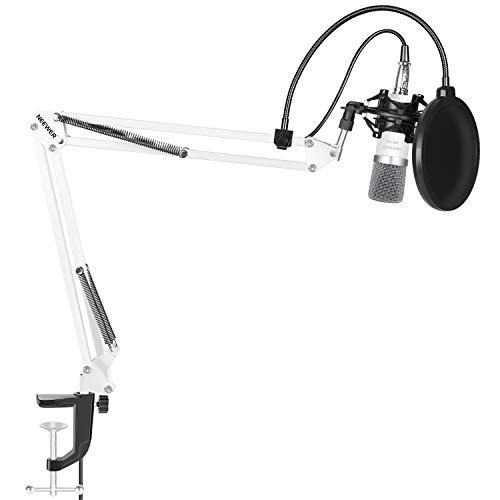 Neewer® NW-700 Mikrofon-Set enthält: (1) Kondensatormikrofon + (1) Mikrofon Suspension Scherenarm Ständer mit Befestigungsschelle + (1) Pop Filter + (1) Shock Einfassung (weiß)