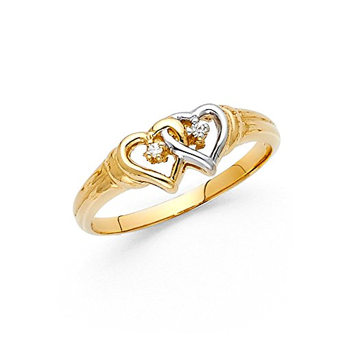 Paradise Jewelers solid gold round women cut intertwined cubic zirconia heart ring, size 5.5