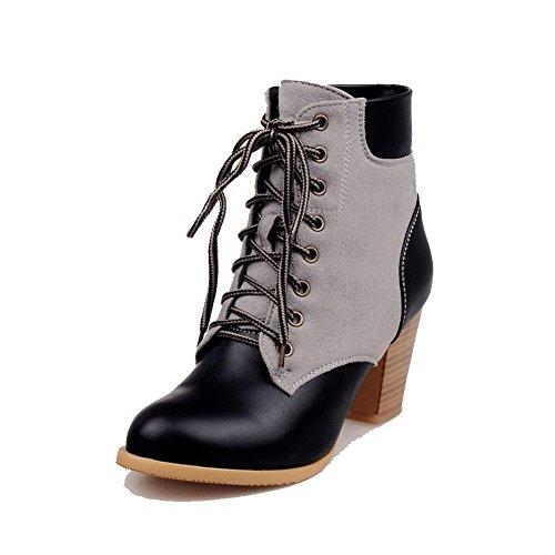 AgooLar Damen Hoher Absatz Gemischte Farbe Weiches Material Schnüren Stiefel mit Knoten Schwarz
