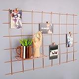 Rose Gold Foto Rahmen Aufhängen Display, Foto Kunstwerken Prints Wand, Gitter Wandschmuck Wandtattoo für Wohnzimmer Wohnheim Büro Set von 1, Größe 80x 52,1cm