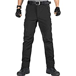 FREE SOLDIER - Pantalones Softshell para Hombre, Impermeables y Cortavientos, para Escalada y Senderismo, con Forro 34 Negro