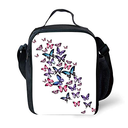 ZKHTO School Supplies Navy and Blush,Various Butterflies Flying Together Spring Summer Nature Inspired,Violet Blue Pink for Girls or Boys Washable Freezable Ice Pack