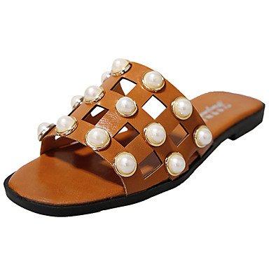 zhENfu donna pantofole & amp; flip-flops sandali Comfort PU Estate Casual cordone a piedi tacco piatto bianco marrone nero 2A-2 3/4in Brown