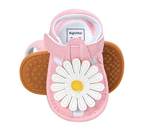 Y-BOA Chaussure Marche Enfant Bébé Fille Sandales Fleur Toddler Semelle Souple Casual Rose