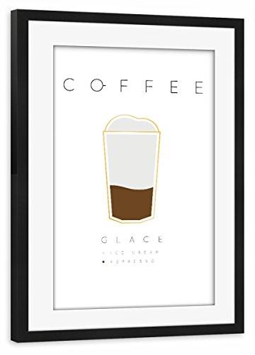 - artboxONE Poster mit Rahmen schwarz 60x40 cm Coffee glace white von Anna Kozlenko - gerahmtes Poster