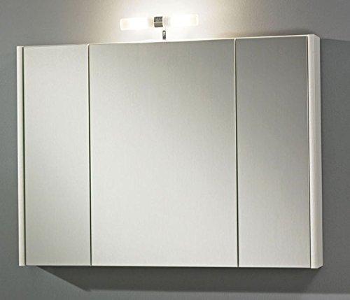 #Zoll Spiegel Dublin 80 Spiegelschrank mit 3 Spiegeltüren und 3 Glasfachböden in weiß#