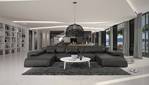 SalesFever Wohn-Landschaft XXL mit schwarzem Kunstleder 400x250 cm U-Form | Relas-U | Design Sofa-Garnitur aus hochwertigem Kunstleder | Polster-Ecke XXL für Wohnzimmer schwarz 400cm x 250cm -