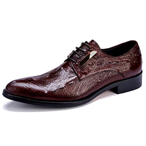 Burgund Korn (GAOLIXIA Formale Reale lederne Schuhe der Männer Geschäfts-beiläufige Schuhe Krokodil-Korn-Kleid-Schuh-Arbeits-Büro-Berufsschuhe Hochzeits-Bankett-Abend (Farbe : Burgund, Größe : 44))