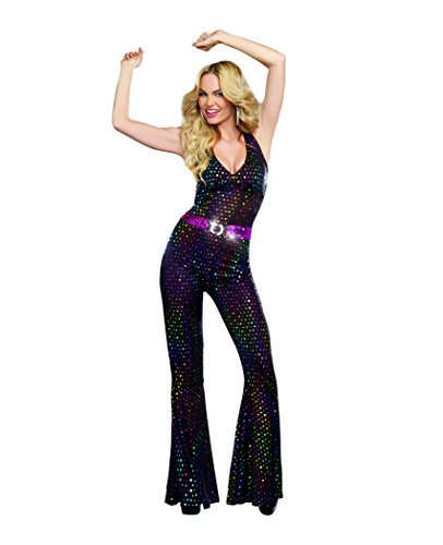Womens Disco Doll Costume. Eye-catching, stretchy holographic jumpsuit. with pink sequin belt. XS to 2XL