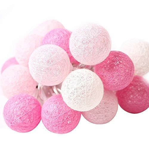 XIYUNTE Bola de algodón led Luces de cadena - 9.8FT / 20LED luces de cadena de bola de algodón blanco rosa,Luces de hadas Para Luces interiores para fiestas en casa, Halloween,Navidad