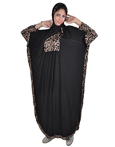 Zweiteiliger Isdal mit kopftuch und Umhang mit arabischer Kalligrafie, Islamische Gebetskleidung , braun oder schwarz (Einheitsgröße, Schwarz) (Pharao Kostüm Muster)