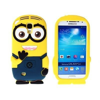 Double Eye Cute Despicable Me Minion Silicone Back Cover For Samsung S4 I 9500  available at amazon for Rs.499