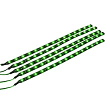 Mintice™ 5 X Green 12V 15 Led 30cm Car Auto Vehicle Grille Flexible Waterproof Underbody Light Strip