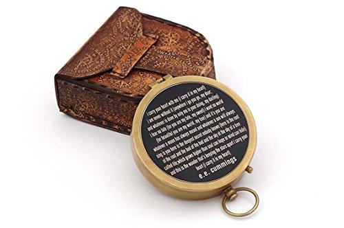 Roorkee Vintage Kompass Messing mit Handgefertigt Leder Case/E.E. Cummings gerichtete magnetisch...