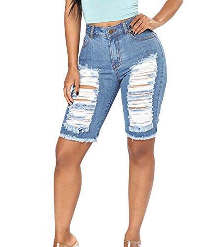 Sexy Distressed Jeans (Ripped Hole Tassel Jeans Damen Allgleiches Abnehmen Denim Shorts Casual Distressed Hosen mit Taschen)