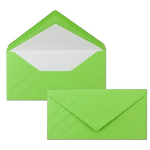 50 DIN Lang Briefumschläge - bunt mit weißem Seidenfutter - Grün - 11x22 cm - 80 g/m² - ideal für Einladungen, Weihnachtskarten, Glückwunschkarten aus der Serie Farbenfroh