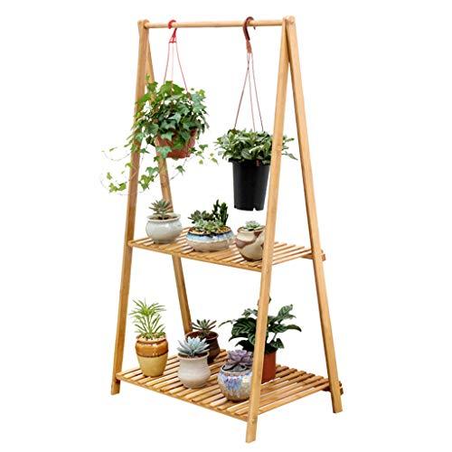 Couronnes décoratives Support de pot de fleurs grille décorative double étagère plante verte stand salon pot de fleur (Color : Beige, Size : 70 * 43 * 129cm)