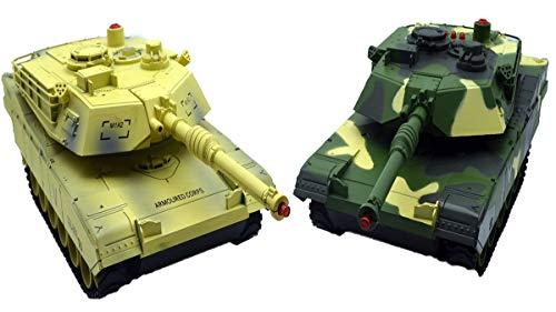 GYD Doppelpack Ferngesteuerter R/C Panzer mit LED Licht Tarn B.W. Infrarot Battle Funktion 1 VS 1 Fangle of Tank 1:18