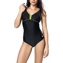 Gwinner deporte del traje de baño del traje de baño del traje de baño del traje de baño de las mujeres de una pieza muy cómoda y elástica, con suave, copas removibles, calidad hecha en la UE Anika, negro/verde, 42