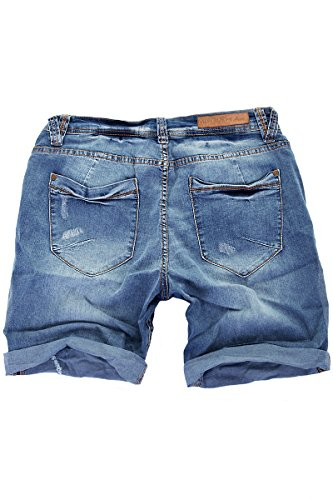 MERISH Herren Denim Jeans Shorts Used Look Modell J3007 Blau