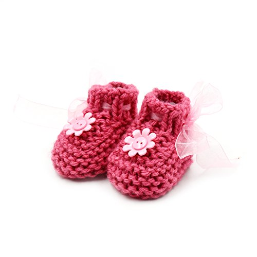 Newborn Baby Booties-Handmade Crochet Sneakers, Bow Ankle Boots-Pink, Sport Pink Flower Ankle Boots-Pink-0-6 mths (Crochet Booties Baby)