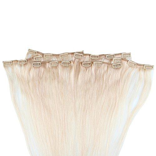 Beauty7 120g Extensions de Cheveux Humains à Clip 100% Remy Hair Haute Qualité #60 Couleur Blonde Platine Longueur 46 cm