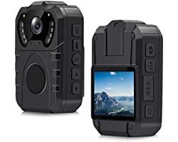 Caméra de Corps de Police, CAMMHD Étanche IP67, Grand Angle de 170°, Enregistreur Portable Professionnel à Vision Nocturne HD