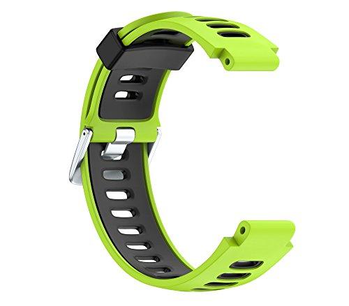 SEWORLD kompatibler Für Garmin Forerunner 735XT Uhr, Weiches Verstellbare Silikagel Sports Ersatz Armbänder Breite Weichbandgurt Ersatzband Silikonersatz-Armbanduhr Uhrenarmband(Grün)