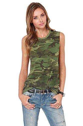 Escalier Donna Casual Stretch Camo camice Camouflage canotte