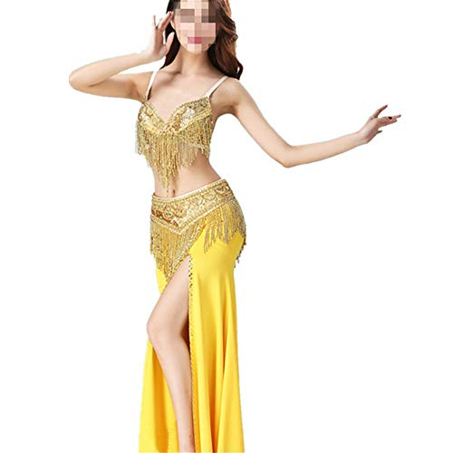 Bauchtanz Kostüm Bauchtanz Rock Bauchtanz Rock Frauen Anzug Chiffon Dance Big Swing Perfekt for Bauchtanz Performance Rock Sexy Tanzkleid-Outfit (Farbe : Gold, Größe : L) (Swing Dance Kostüm)