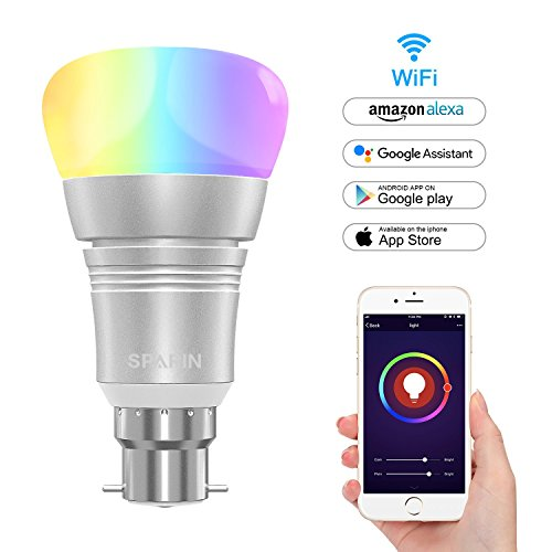 Smart Bulb B22, SPARIN Color Changing Led Light Bulb [B22 bayonet 7W]Wi-Fi Light Bulb. Valentines Decoration Bulbs that Compatible with Alexa/Google Home [Dimmable] [Remote Control] [No HUB].