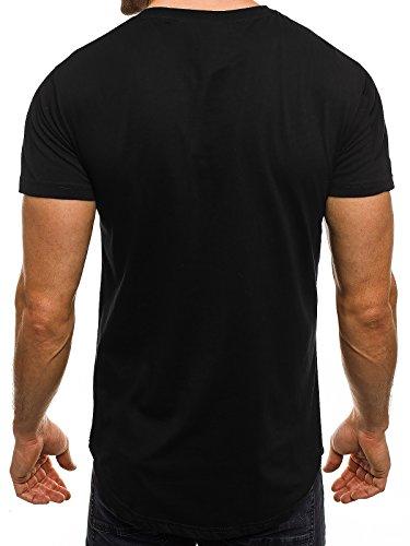 OZONEE Herren T-Shirt mit Motiv Kurzarm Rundhals Figurbetont J.STYLE SS010 Schwarz_J.STYLE-SS149