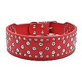 Generisches Hundehalsband Strasshalsband Halsbänder mit klein groß Strass 38-61cm Halsumfang 5cm Breit für große Hunde Hunter Luxus, Rot XXL