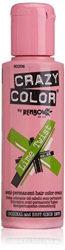 Crazy Color Renbow Semi-Permanent Hair Colour Cream Dye 100ml-Lime Twist