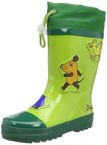 Image of Playshoes GmbH Rubber Mouse Elephant and Duck, Unisex Kids' Rain Boots, Green (Green 29), 4 Child UK (20/21 EU)
